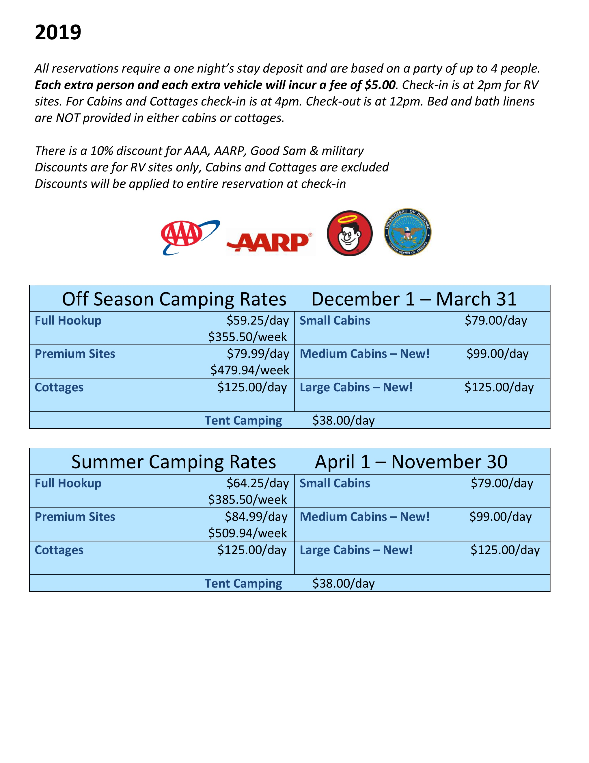 Rates - American Heritage RV Park Campground